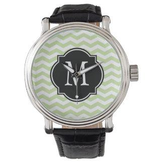 Green & White Chevron Pattern Watch