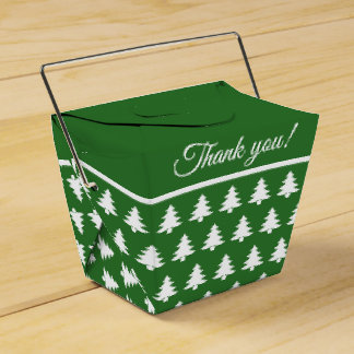 Green/White Christmas Party Tree  Font Pattern Favour Box