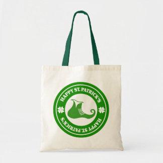 Green & White Circle & Leprechaun Shoe Budget Tote Bag