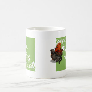 Green white clematis and cat fairy design basic white mug
