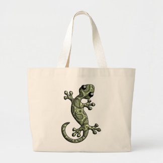 Green White Climbing Gecko Lizard Large Tote Bag