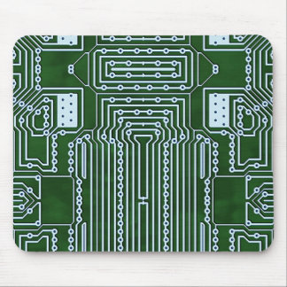Green White Computer Circuit Board Lines Mouse Mat