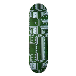 Green White Computer Circuit Board Lines Skateboard