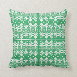 Green, White Cottage Style Pattern Throw Pillow