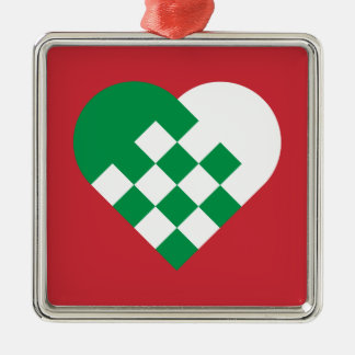 Green White Danish Heart Christmas Ornament
