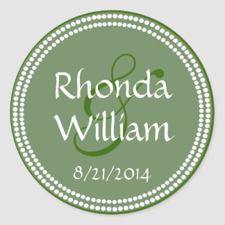 Green & White Decorative Custom Wedding Stickers
