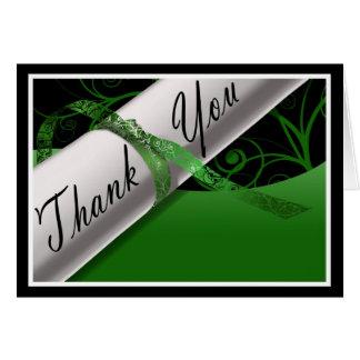 Green & White Diploma Thank You Card