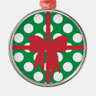 Green White Dot Box Christmas Ornament