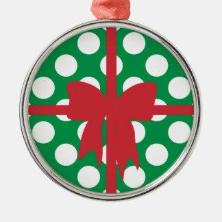 Green White Dot Box Silver-Colored Round Decoration