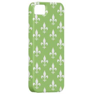 Green & White Fleur De Lis Pattern iPhone 5 Cases
