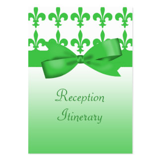 Green & White Fleur De Lis Wedding Pack Of Chubby Business Cards
