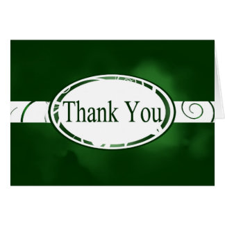 Green & White Floral Button Thank You Card
