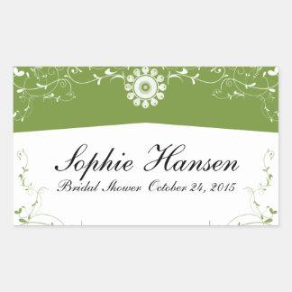 Green White Floral Flourish Bridal Shower Rectangular Sticker
