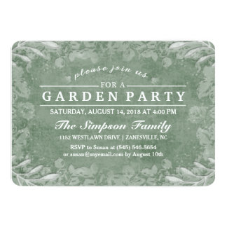 Green & White Floral Garden Party Invitation