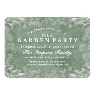 Green & White Floral Garden Party Invitation