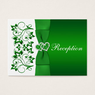 Green, White Floral, Hearts Wedding Reception Card