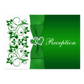 Green White Floral Hearts Wedding Reception Card Business Card Template
