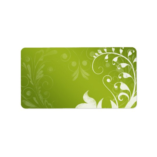 Green White Floral Wedding Blank Address Label