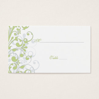 Green, White Floral Wedding Place Cards