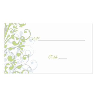 Green, White Floral Wedding Place Cards Pack Of Standard Business Cards