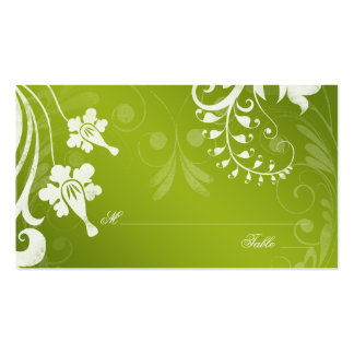 Green White Floral Wedding Place or Escort Cards Pack Of Standard Business Cards