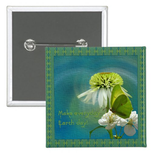Green & White Flower Bouquet Earth Day 15 Cm Square Badge