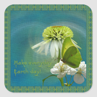 Green & White Flower Bouquet Earth Day Square Sticker