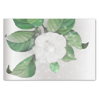 Green White Flower Sparkly Gray Silver Floral Tissue Paper