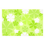 Green white flowers custom stationery