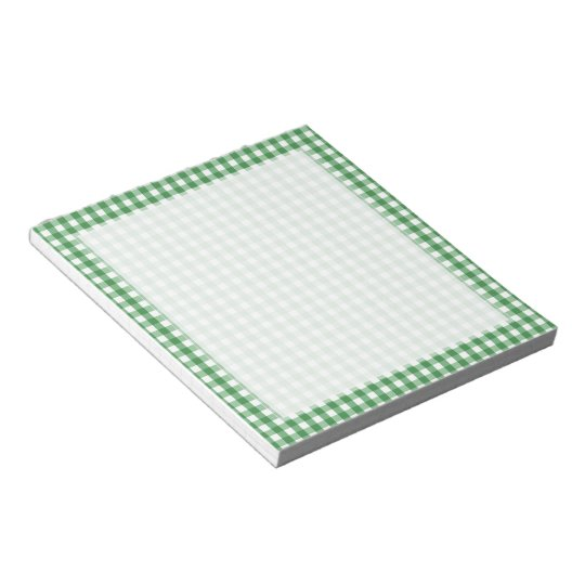 Green White Gingham Checked Pattern Notepad