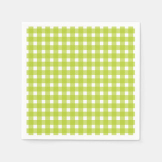 Green & White Gingham Plaid Checks Wedding Party Paper Napkins