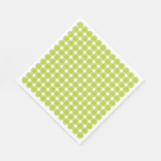Green & White Gingham Plaid Checks Wedding Party Paper Serviettes