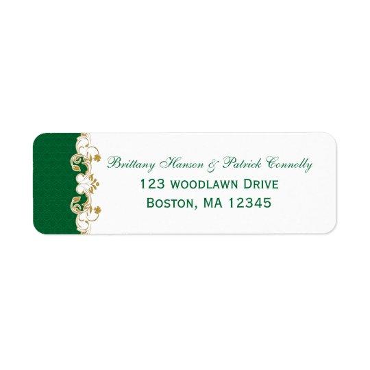 Green White Gold Scrolls Return Address Label