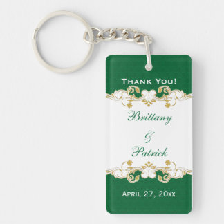 Green White Gold Scrolls, Shamrocks Favor Keychain