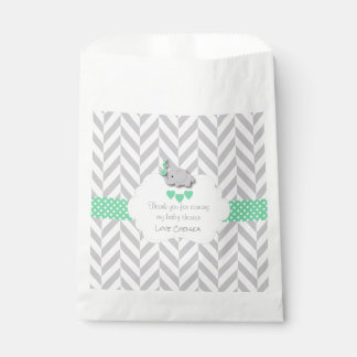 Green, White Gray Elephant Baby Shower Favour Bags