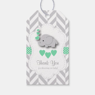 Green, White Gray Elephant Baby Shower Thank You Gift Tags