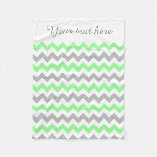 Green, White, Grey Chevron Custom Text Blanket