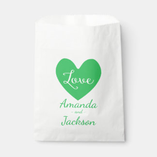Green & White Heart Love Wedding, Bridal Shower Favour Bags