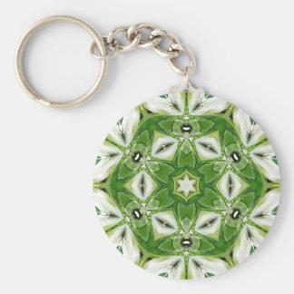 Green White Hexagon Kaleidoscope Keychain