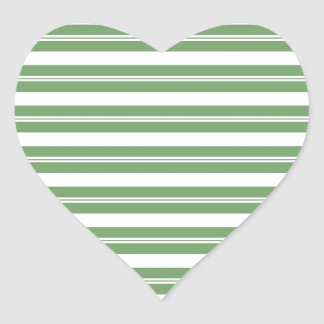 Green White Horizontal Stripes Heart Sticker