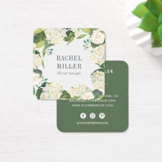 Green & White Hydrangea Wreath Square Business Card