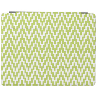 Green White Ikat Chevron Zig Zag Stripes Pattern iPad Cover