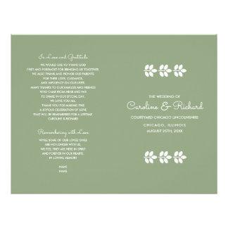 Green   White Leaf design Folded Wedding Programs Flyer