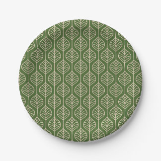 Green & White Leaves Wedding Party Woodland Nature Paper Plate