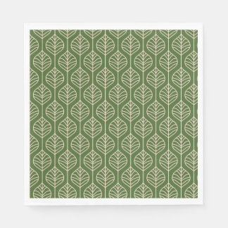 Green & White Leaves Woodland Leaf Nature Party Paper Napkins