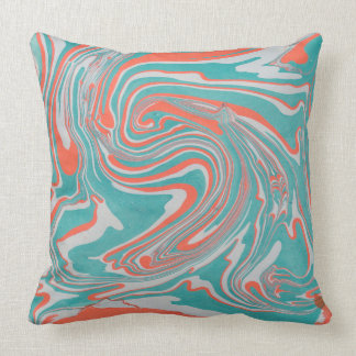 Green, White & Orange Marble Pattern Throw Pillow