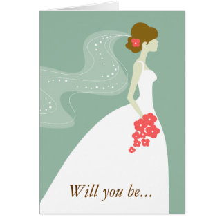 Green White Pink Will You Be My Bridesmaid Greeting Cards