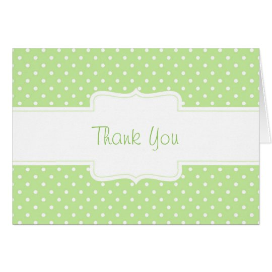 Green & White Polka Dot Custom Greeting Card