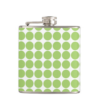 Green & White Polka Dot Pattern Flask