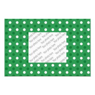 Green white polka dots photo art